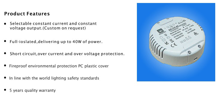 40W round 0-10V led downlight driver
