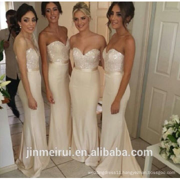 Amazing Beaded Sweetheart Strapless Long Mermaid Bridesmaid Cheap Bridesmaid Dresses Ivory Sequins Sexy Wedding Party Dresses