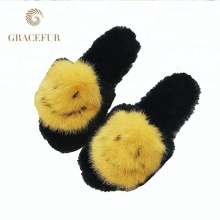 Excellent fast supplier mink furry open toe fur slippers