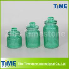 Set von 3 Sprühfarbe Glas mit Glasdeckel