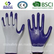 Escudo de poliéster con guantes de trabajo revestidos de nitrilo (SL-N102)