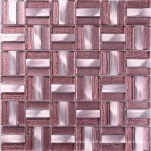 Building Materials Commercial Use Aluminum Purple Glass Tile Mosaic
