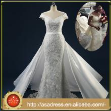 ASAM-02 Lace-up Back Off the Shoulder Short Sleeves Beaded Appliques Detachable Skirt Wedding Dresses 2016