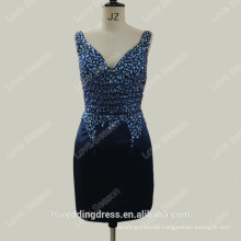 RP0105 Factury customize V front and back beaded sexy dress polyester navy club bodycon dress real pictures of cocktail dress