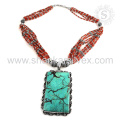Eye Tempting Gemstone Jewelry Collier Turquoise Turquoise Exporté 925 Bijoux en Argent Sterling