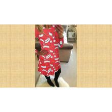 Europäische Damen O Neck Printed Long Sleeve über Knie Frauen Kleid Kleid für Weihnachten