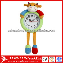 Рекламные креативные и мягкие плюшевые часы для детей с коровой для детей