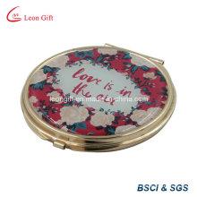 Espelho de bolso maquiagem chapeado ouro romântico para presente de casamento