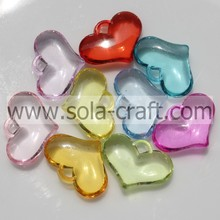 Sparkle 8*20*29MM Clear Random Colors Sparking Heart Spacer Beads Wholesale