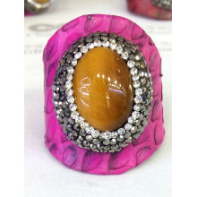 New Design Snack Skin Leather Hematite Crystal Ring Rings Jewelry
