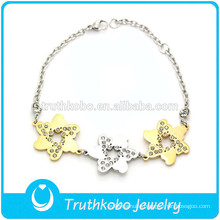 TKB-B0005 Fashion First-rate Two Tone The six corners of the starfish Loverly Charm Beauty Stiainless Steel Bracelet For Women