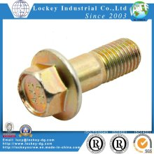 Grade 5 Hex Flange Bolt, Steel, Cr3+ Yellow Zinc Plated
