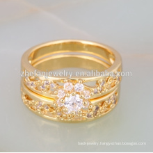 Quality guarantee two in one ring dubai gold plated jewelry