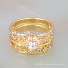 Garantia de qualidade dois em um anel dubai banhado a ouro jóias
