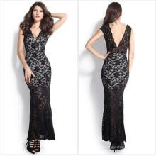 Moda Maxi Long Evening Black vestido de noiva de renda (50140)