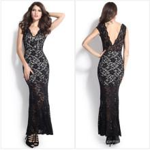 Мода Maxi длинным вечерним кружевом платье невесты (50140)