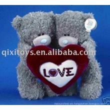 muñeco de peluche de felpa y peluche con corazón, muñeco de peluche chico y chica