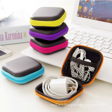 Cute Zipper Hard Headphone Case PU Leather Earphone Bag Protective Usb Cable Organizer Portable Earbuds Pouch Box For girls