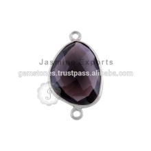 925 plata esterlina joyas de piedras preciosas de cuarzo ahumado bisel conectores de plata esterlina conector bisel