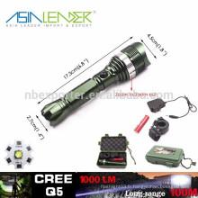 Q5 / 5W-1200 Lumens, lampe de poche LED en aluminium haute puissance avec batterie 1 * 18650