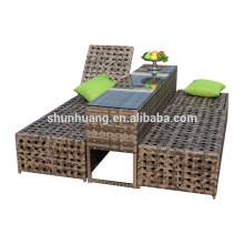 double rattan metal lounge chaise