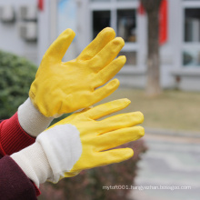 NMSAFETY cotton interlock yellow nitrile 3/4 coated glove knitted wrist for anti- oil cheap price/ heavy duty gloves