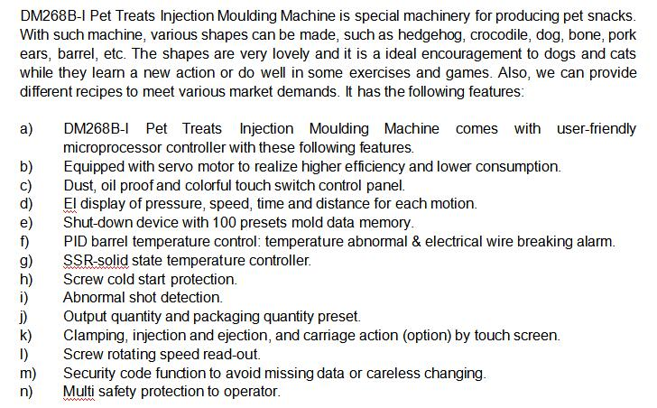 Introduction for DM-268 Pet Treats Molding Machine