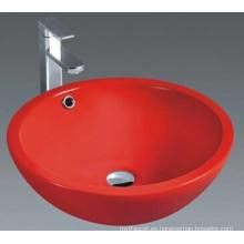 Lavabo independiente de cerámica de baño con desbordamiento de agua (1002)