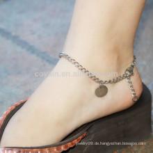 Bulk Blank Runde Edelstahl Anhänger Silber Fußkettchen Ketten