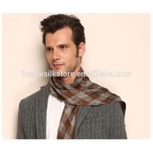 Corbata de seda del hombre del patrón de la tela escocesa con la bufanda de moda de la franja