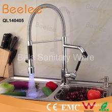 LED Dule Heads and Handles Pull Down Spring Colored Kitchen Sink Faucet