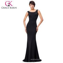 Grace Karin Sexy Occident Womens Slim Fit Sleeveless Backless Floor-Length Long Black Dress Casual Dress CL008941-1