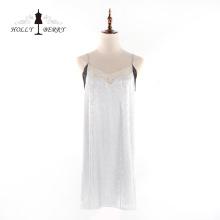Mode féminine sans manches col en v robe en dentelle à bretelles souples