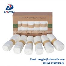 Stock lot 100% Toallita de bebé de bambú 10x10 pulgadas de color blanco