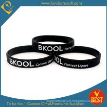 Bracelet en caoutchouc noir en caoutchouc gros pour le sport (LN-036)