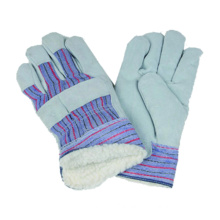Cow Split Glove, Stripe Polyster Work Glove