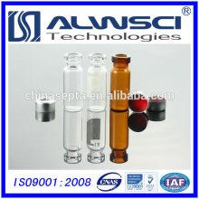 Fabrication d'un flacon en verre transparent de 1,5 ml avec capsules de sertissage, qualité Agilent