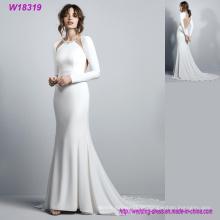 Luxus Bridal Hot Sale White Brautkleider Langarm Backless Satin Meerjungfrau Gericht Zug Brautkleid nach Maß