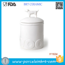 Vente chaude simple bocal en céramique blanc bouteille animale
