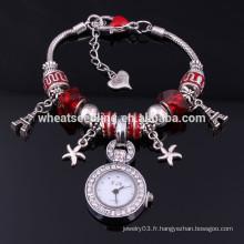 Perles délicates charmes flottants enveloppent la montre de mode 2014 pour fille