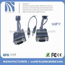 SVGA Câble moniteur mâle à mâle avec mini audio 15FT