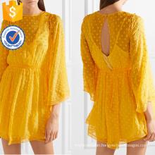Loose Yellow Lace Chiffon Three Quarter Length Sleeve Mini Summer Dress Manufacture Wholesale Fashion Women Apparel (TA0285D)