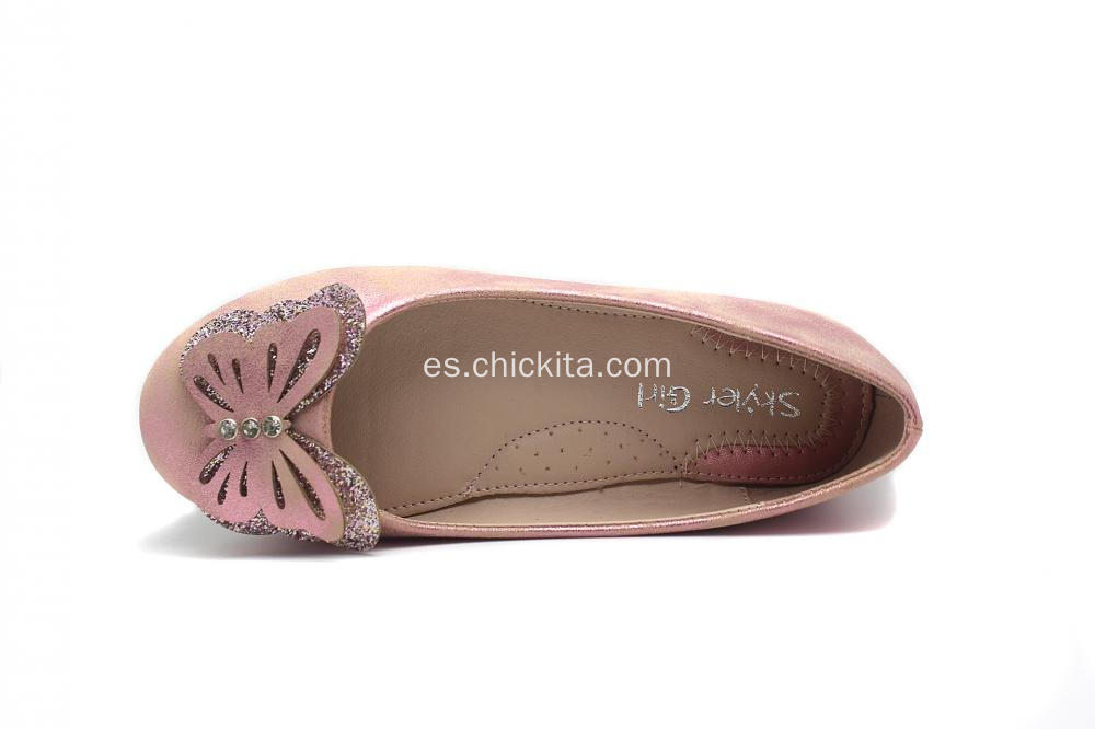 Rosa / Plata Glitter Butterfly Ballerinas Chica Zapatos