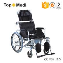 Topmedi Rollstühle aus Aluminium mit hoher Rückenlehne und manueller Toilette