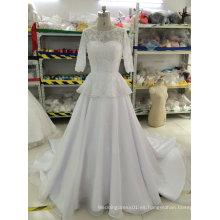 Aoliweiya cuentas / perlas / Rhinestone / vestidos de boda de cristal con 3/4 mangas