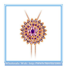Latest design 18k gold-plated large water lily shape dual-use crystal sweater necklace