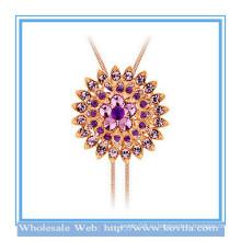 Последние разработки 18k позолоченные большой воды лилии формы двойного назначения кристалл свитер ожерелье
