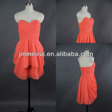 Free shipping coral color short mini strapless sweetheart chiffon prom dress JPD007