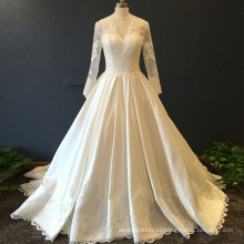 Classic V Neckline Long Sleeve Satin Court Train Wedding Dress With Sleeves ASA36