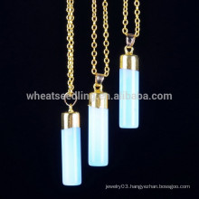 gold chains natural stone opal blue stones pendant necaklce fashion crystal jewelry